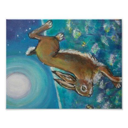 Rabbit chasing fireflies poster - diy cyo personalize design idea new special custom