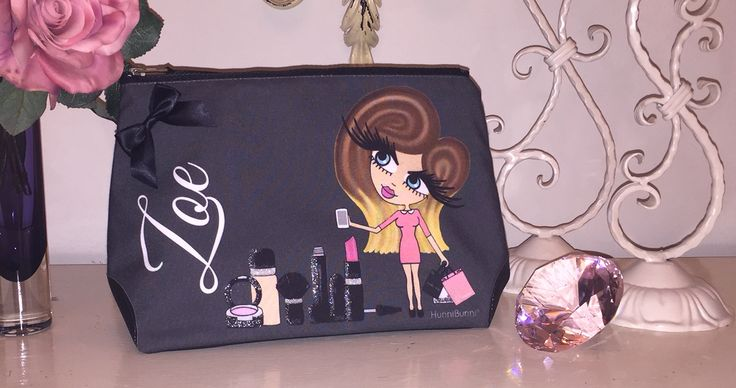 Gorgeous personalised make up bag for Zoe of Zoella complete with her trademark ombré hair. Available from HunniBunni Boutique - www.hunnibunniboutique.co.uk