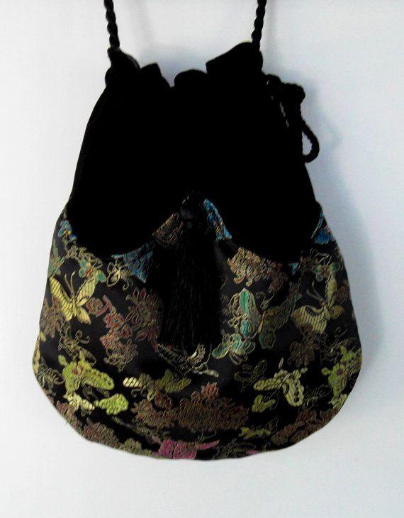 Cross Body Bag Iridescent  Butterfly Bag Black Velvet Bag  Asian Fabric Butterfly  Evening Bag  Black Bag With Tassel  Renaissance Bag