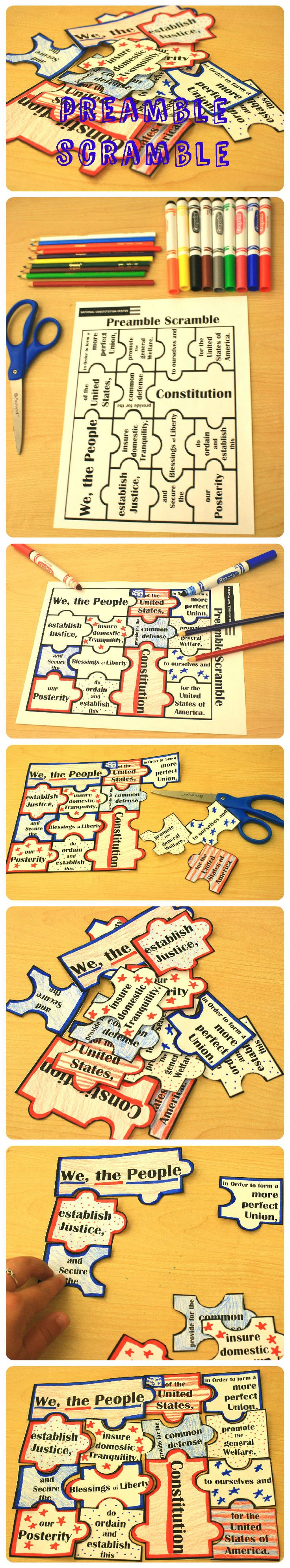 Cycle 3, Week 23, HISTORY: Have fun getting to know the phrases of the Preamble of the #Constitution while unscrambling your #DIY puzzle. Great for kids to personalize and decorate for #July4th
