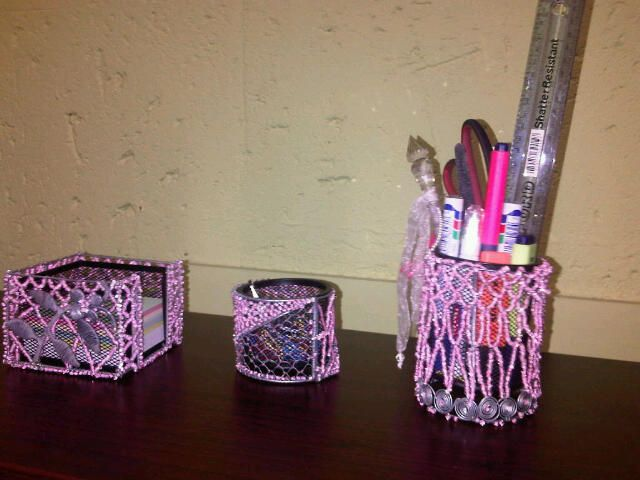 Looking for funky stationary holders for your child's desk or a home office. These pink wire holders are great for pens, pencils and papers. Found on sawa.co.za