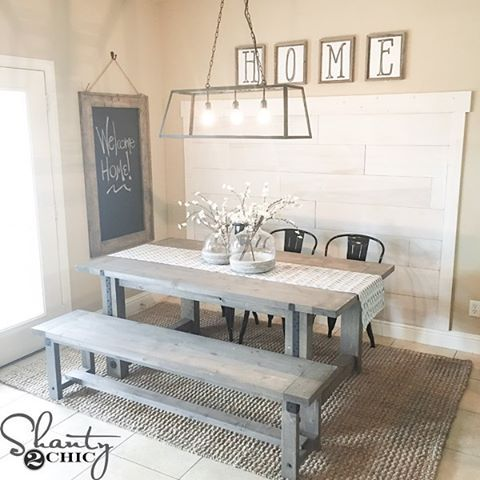 Happy New Year's Eve friends!  Just shared the FREE HOME printables we created for our friend Rachel's kitchen!  You can print them for free on our site!  You can also find free plans for the table, bench, chalkboard and plank wall! ❤ #Shanty2Chic #freeprintables