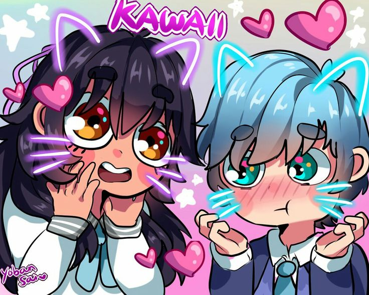 Two dorks in photobooth: Aphmau and Kayce Art by: Yobansai_Chan