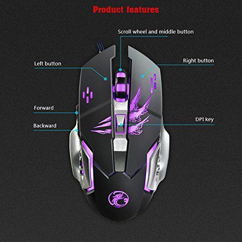 Gaming Maus GIM USB Wired Gamer Mouse Ergonomische mit 6 Tasten Optische Mäuse und 4 beruhigenden LED-Farben: Amazon.de: Bürobedarf & Schreibwaren