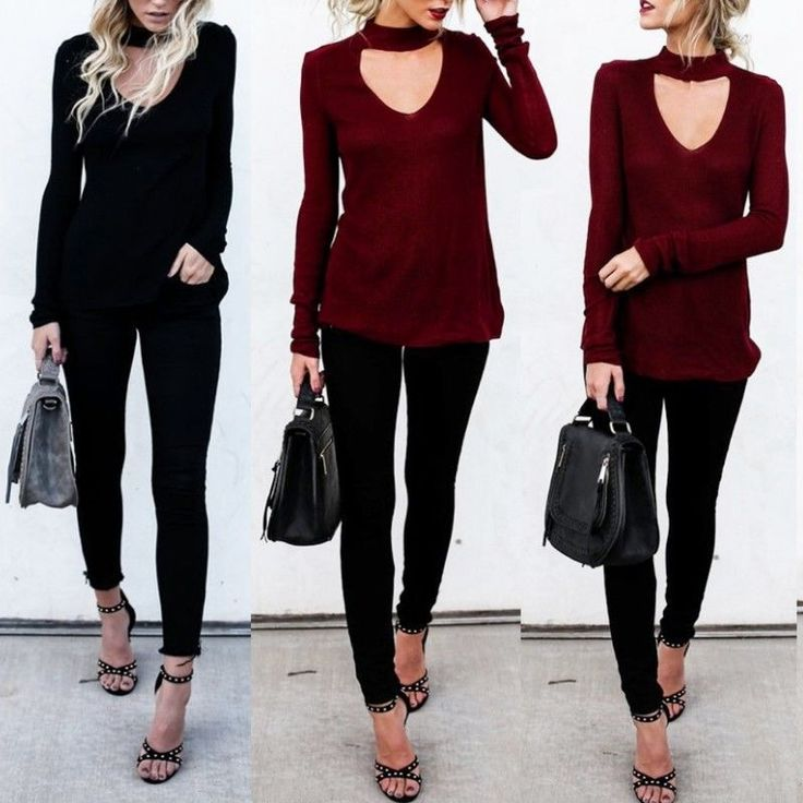 Womens Solid Color V Neck Choker Long Sleeve T Shirt Jumper Blouse Tops  | eBay