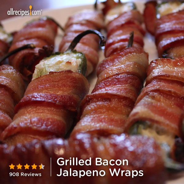 """Grilled Bacon Jalapeno Wraps   """"Simply amazing! I prepped 24 of them for a football game tomorrow and prefroze them to ensure they would stick together and the cream cheese wouldn't melt it in the oven."""" http://allrecipes.com/recipe/grilled-bacon-jalapeno-wraps/Detail.aspx"""
