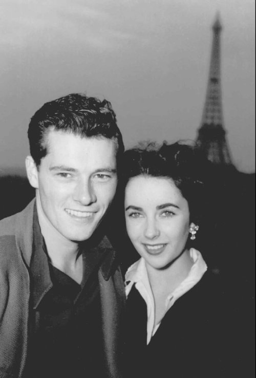 Elizabeth Taylor + Conrad Hilton Jr - If you have not had the pleasure to read her bio - This was husband number 1. She wrote that he beat her up on the first night of their honeymoon....