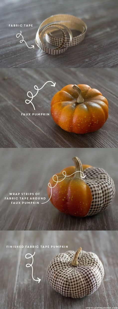 LOVE these DIY Fabric Tape Pumpkins! Wrap faux pumpkins with fabric tape for an adorable, rustic touch. http://upcycledtreasures.com