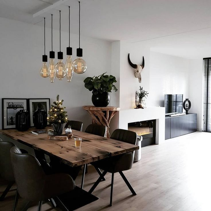 Inspiring Dining Room Decorating Ideas With Modern Style In 2020 Dining Room Decor Modern House Interior Farm House Living Room