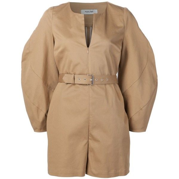 Rachel Comey belted playsuit ($448) ❤ liked on Polyvore featuring jumpsuits, rompers, brown, playsuit romper, rachel comey and brown romper