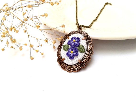 Necklace floral Blue Violet hand embroidered pendant by ConeBomBom