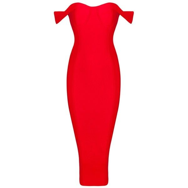 Honey Couture BECKY Red Off Shoulder Bustier Bandage Dress ❤ liked on Polyvore featuring dresses, red bandage dress, evening dresses, holiday dresses, sexy dresses and off shoulder cocktail dress