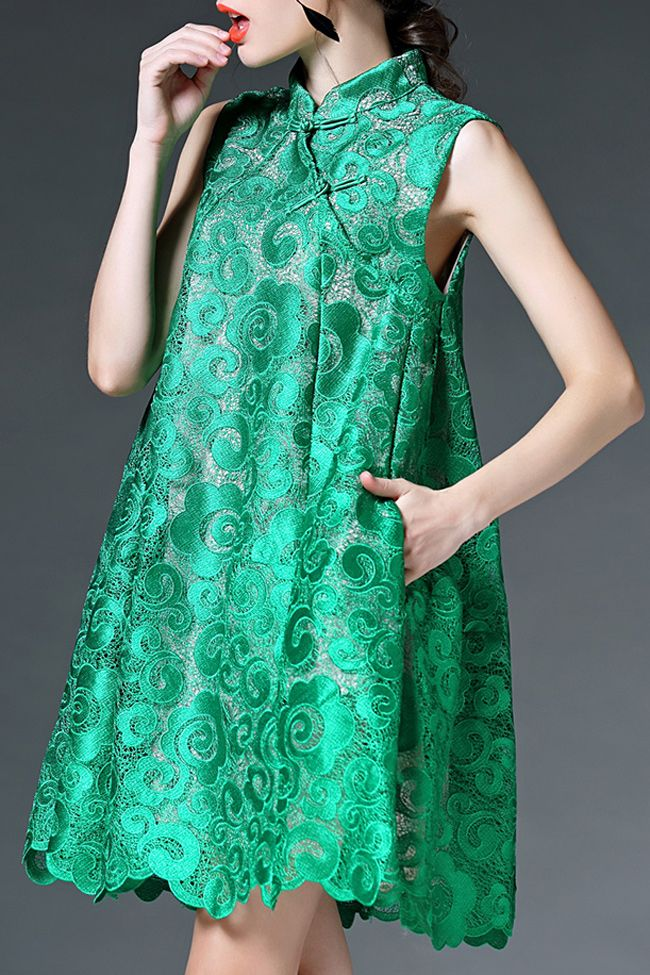 O&y Green Lace Mandarin Collar Cheongsam Dress