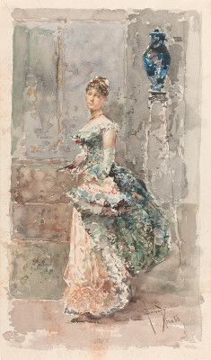 Barbudo Sanchez, Salvador Spanish, 1857 - 1917 Lady in Formal Dress 1886 watercolor over graphite on wove paper overall: 28.7 x 17 cm (11 5/...