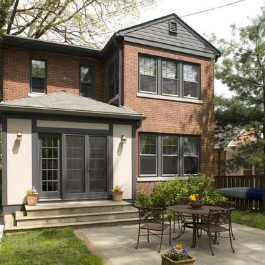 dark grey trim, off white, red brick, exterior paint color