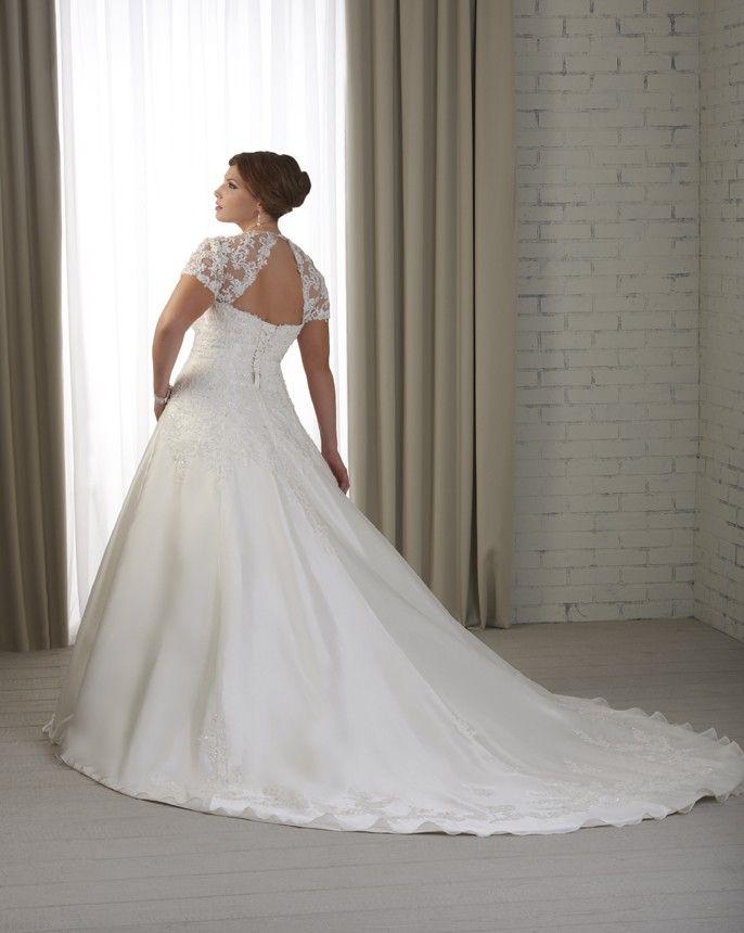 Graceful A-Line manches courtes décolleté carré les trains chapelle Taille Plus robe de mariée