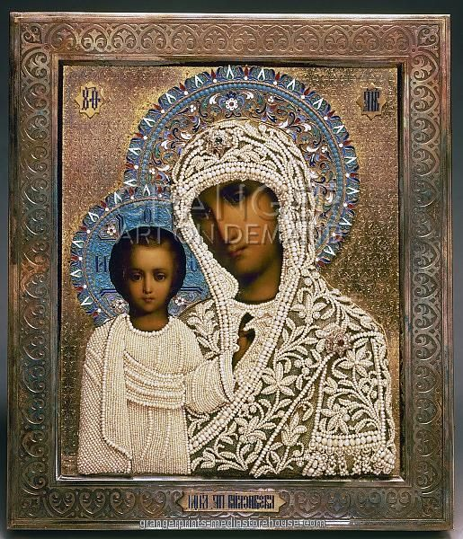 Our Lady of Kazan. Russian icon. Tempera on panel with fabric, silver, gold enamel pearls and precious stones, from the workshop of Aleksandra Makhalova, Moscow, 1896