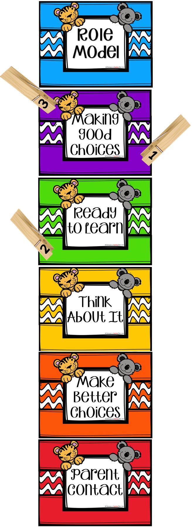 """Behavior Clip Chart - Zoo Animal Theme  Here is a bright and colorful behavior clip chart with a zoo animal theme. This clip chart is a easy way to track and encourage positive behavior in any classroom.  All students start on """"Ready to learn!"""" and move up or down the chart depending on their behavior."""