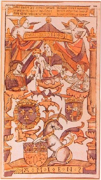 Entrée de François I° à Amiens (1527) bois gravé. François I° utilise l'émotion de l'amour en donnant son coeur à Elizabeth d'Autriche dans l'entrée d'Amiens, en 1527: cette gravure sur bois en couleurs d'après Rosso, rappelle la visite en même temps qu'elle annonce le mariage prochain. Les bustes de François qui offre son coeur et d'Eleonore qui offre des fleurs, sont disposés dans les branches d'un arbre placé au-dessous de la Vierge (arbre de Jessé) et sur les armes d'Amiens et de France