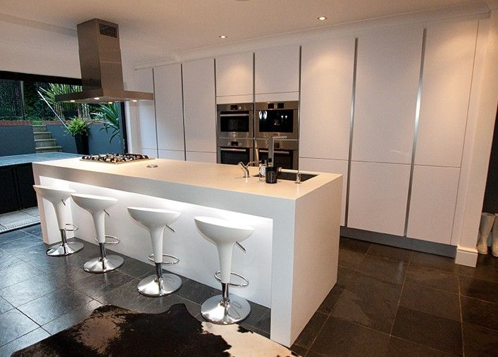 This Contemporary High Gloss Island Kitchen Design Is Finished In A Polar  White High Gloss Satin Lacquer. A Polar White Kitchen Finish Is Sharper  Than Other ... Part 57
