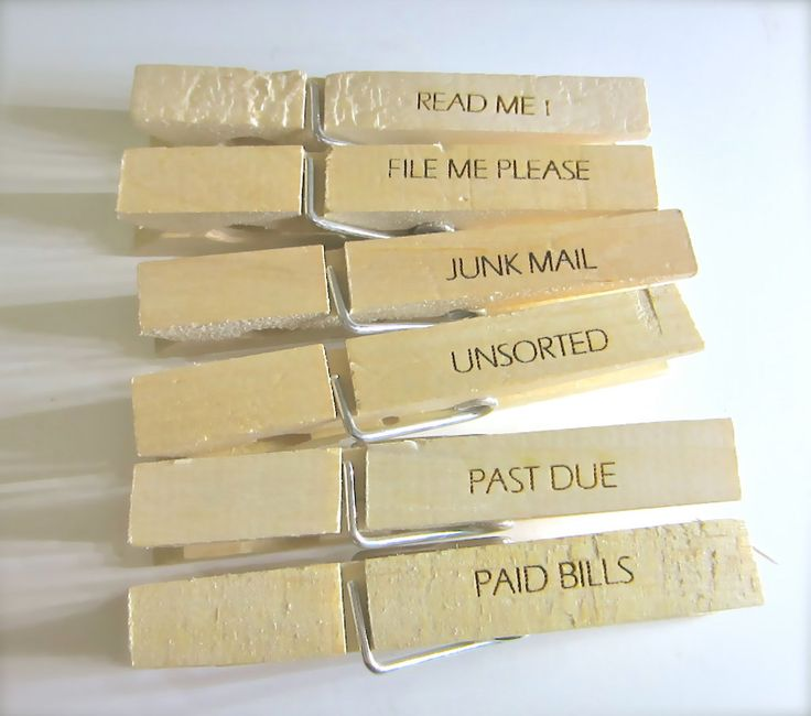 Office Organizing Clothespins for Junk mail, Bills and Filing