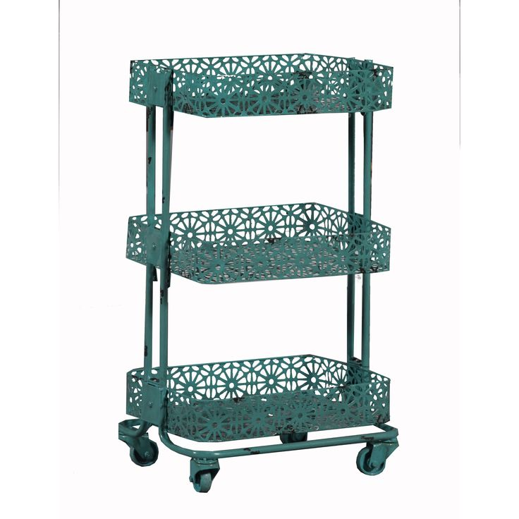 Linon Turquoise Metal 3-tier Cart - Overstock Shopping - Big Discounts on Cabinets                                                                                                                                                                                 More