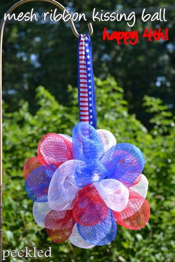 DIY Deco Mesh kissing ball. This would be cute for any occasion, wedding, birthdays, 4th, etc. by peckled