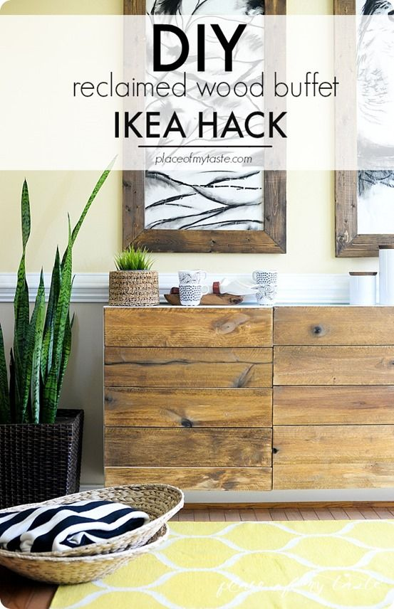 DIY Home Decor | I love this idea for updating an inexpensive white cabinet by adding wood planks to the front. Gorgeous!