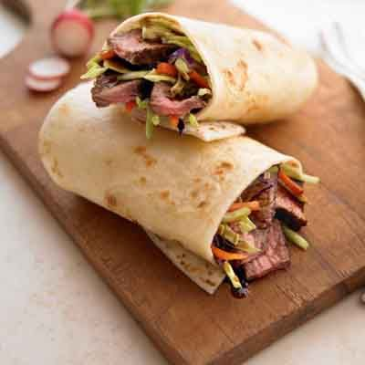Teriyaki marinade adds great flavor to this hearty steak wrap.