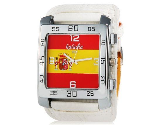 Дешевое Kaladia 593 мужская испания флаг печать прямоугольные аналоговый кварцевые часы с искусственного кожаный ремешок ( белый ), Купить Качество Наручные часы непосредственно из китайских фирмах-поставщиках: Особенности Модно аналоговые часы, предназначенные для мужчин и женщин Уникальный Испания флаг печать н