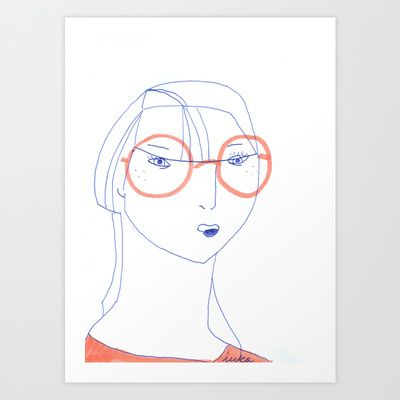 Big glasses Art Print by +karolina+skorka+ - $16.00