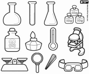 The laboratory equipment necessary to realise the experiments coloring page