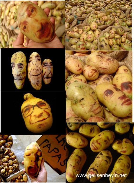 Patateslerden yüz ifadeleri...