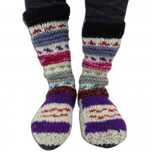 Multicolor Socks Knitted Warm Handmade Traditional Wool Blends Women Socks India