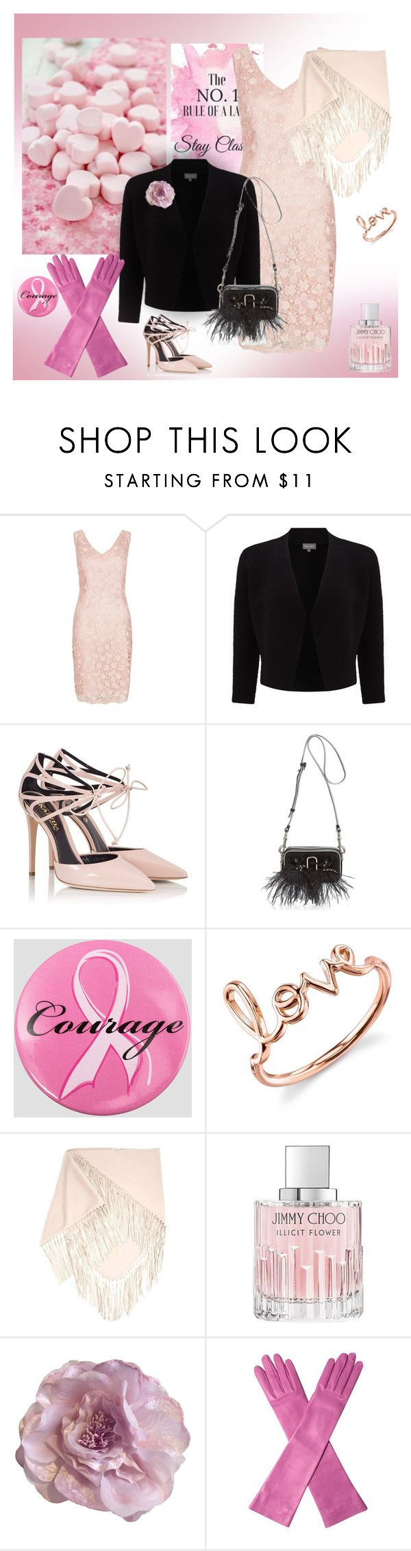 """Pink for COURAGE"" by gagenna ❤ liked on Polyvore featuring t+j Designs, Fenn Wright Manson, Phase Eight, Fratelli Karida, Marc Jacobs, Ashley Stewart, Sydney Evan, Jimmy Choo, Cynthia Rowley and Gucci"
