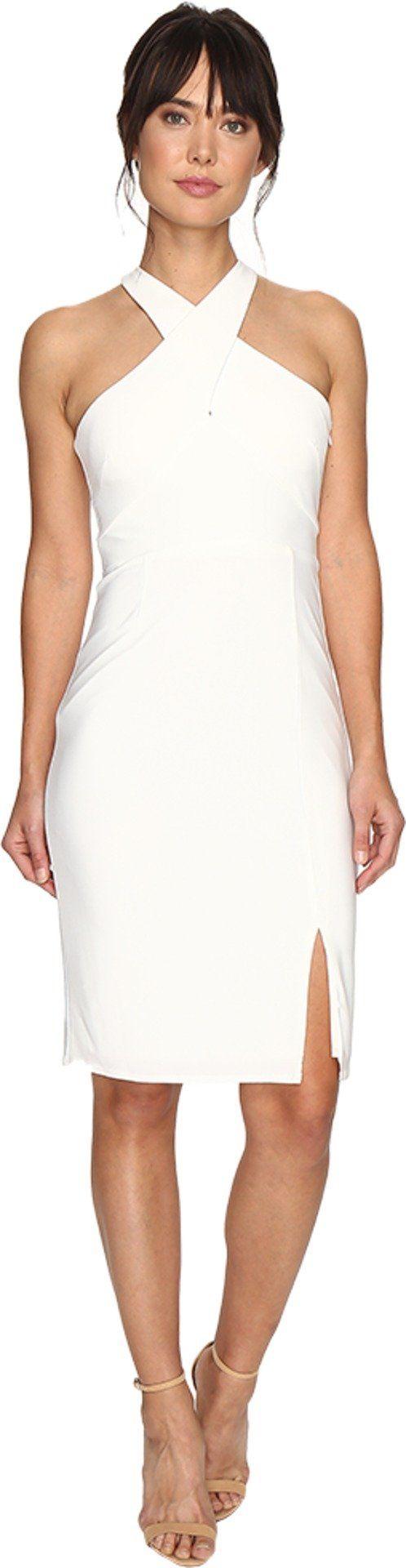 Laundry by Shelli Segal Women's Cross Front Matte Jersey Dress Warm White Dress