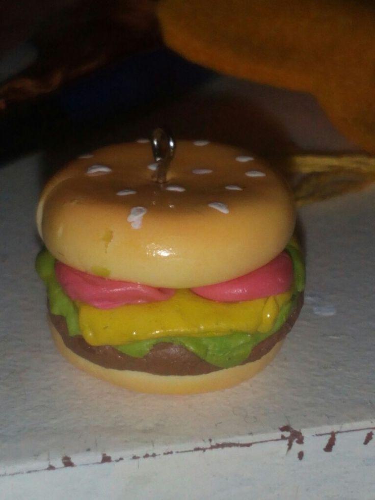 Llavero hamburguesa cold porcelain