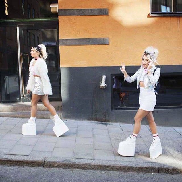 REBECCA &FIONA Photo: Theo Elias Lundgren/ #rebeccafiona #BUFFALO_SHOES ....When a good girl gone bad... they made a stop at ZOOJI <3 where wine is served all day ;] Chic.St Approved <3