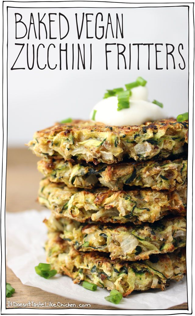 Baked Vegan Zucchini Fritters! I love this whole food plant based recipe. You can serve it for bruch, lunch, dinner, or even as a snack! #itdoesnttastelikechicken