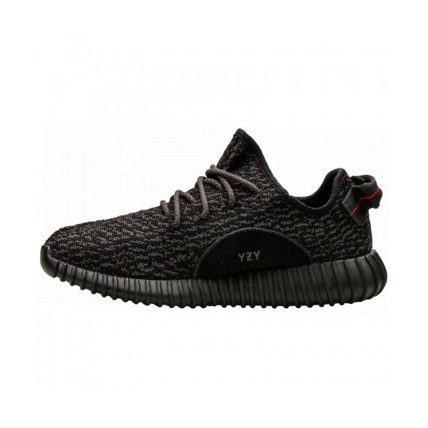 adidas Yeezy Boost 350 Black ($1,155) ❤ liked on Polyvore featuring shoes, black leather shoes, adidas, adidas shoes, adidas footwear and leather shoes