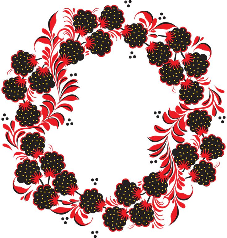 Folk Khokhloma painting from Russia. Round pattern with blackberries and red leaves.