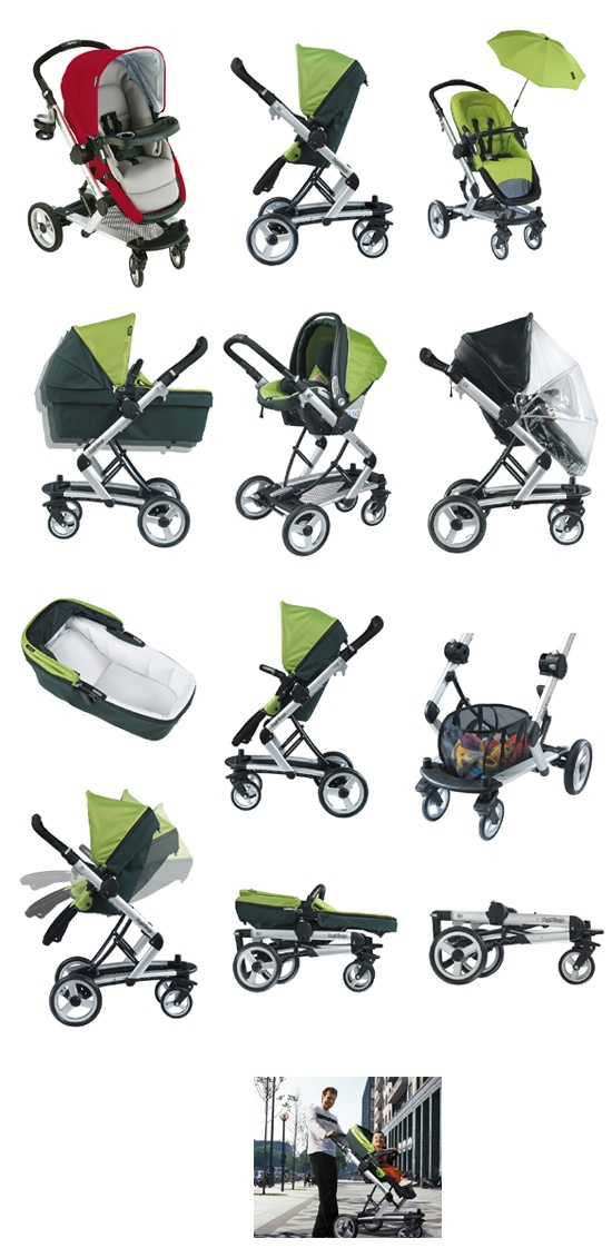 This be what my Momma got me. (except in Mocha). Has bassinet stand and jumper seat (to make into a double stroller), also. Love my Momma!!