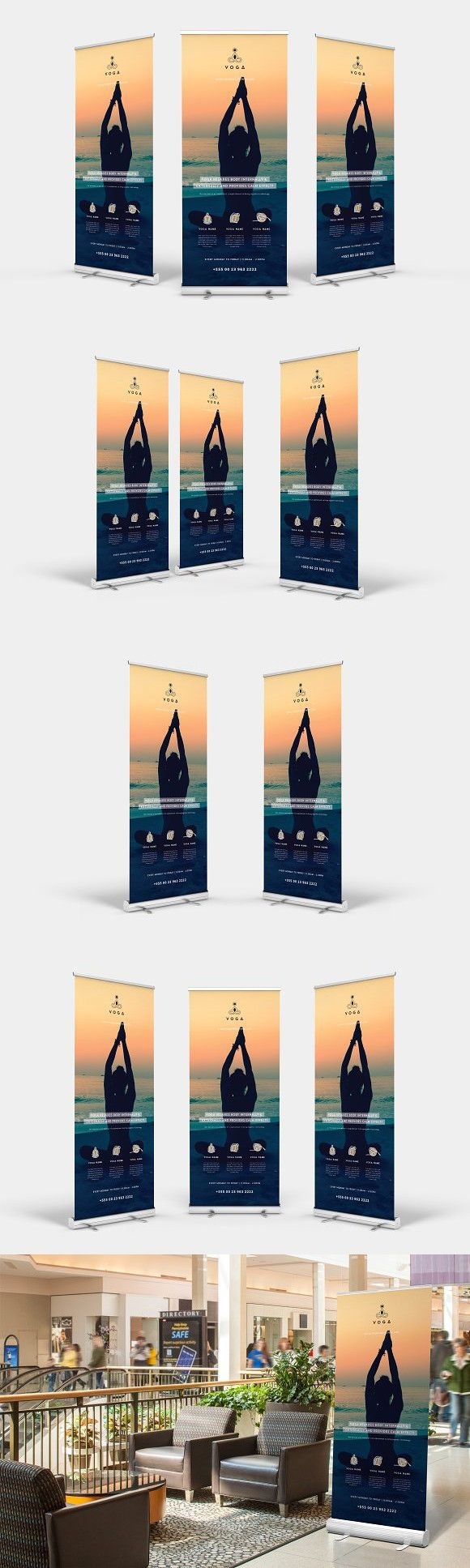 Yoga Roll-up Banner. Stationery Templates