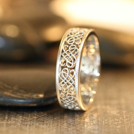 Celtic Wedding Ring 14k White Gold Unique Mens Wedding Band Recycled Gold Celtic Knot Ring Love Knot Ring (Other Metals Available) on Etsy, $835.00