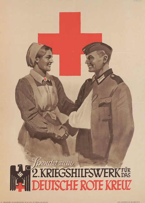 """""""Rote Kreuz,"""" otherwise known as the DRK. This was the major German nursing organization during WWII. The DRK's origins lay in Germany's colonial empire, but the National Socialist Party sought to control it in 1933, and it was officially under control of the Nazi Party by 1938."""