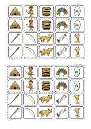 English worksheet: indian´ memory game