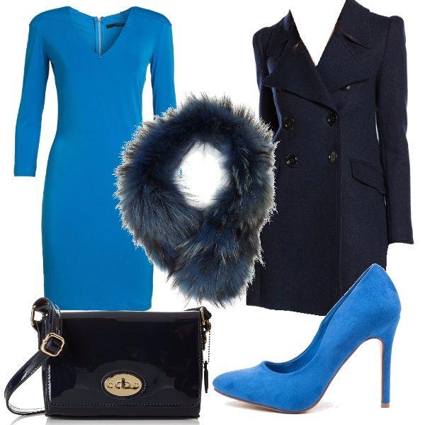 Per questo outfit: vestito turchese manica lunga, cappottino blu navy doppio petto, sciarpa fur blu scuro, tacco a spillo altissimo scamosciato turchese e borsetta blu navy lucida. Pronta per la discoteca.