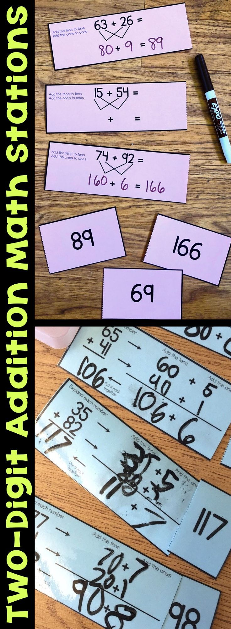 These Two-Digit Addition Math Stations help students use addition strategies and models such as number lines, breaking apart addends, and base-10 blocks. Students will develop their skills with a variety of addition strategies. The two-digit addition math centers are easy to print, laminate, and cut apart, making them durable and reusable year after year. #two-digitaddition