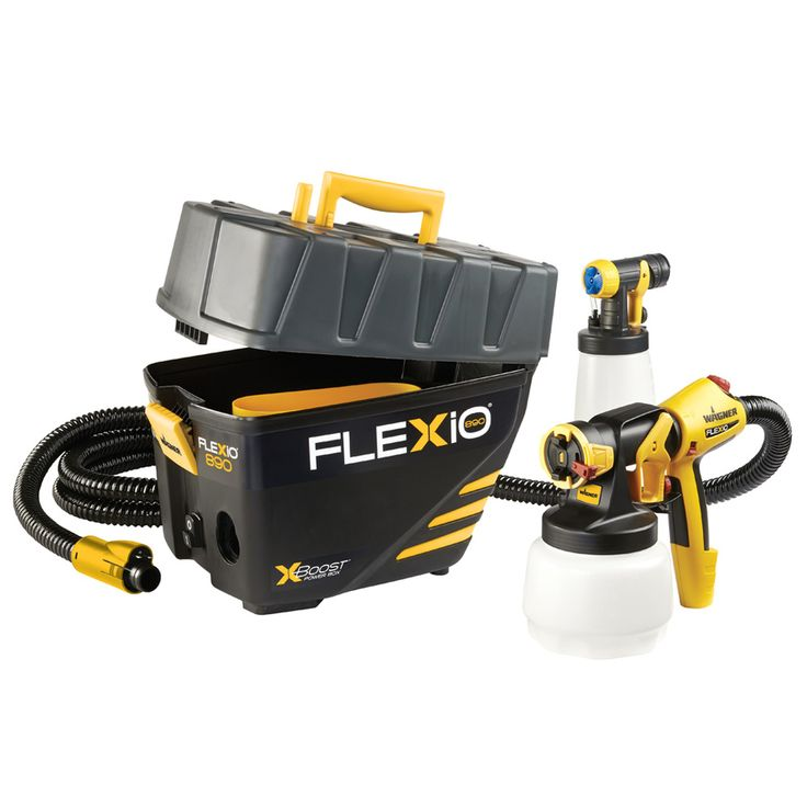 Wagner Flexio 890 Kit Cup Hose 11 ft so base on floor. Light wt instead of all on head. Uses full strength paint...#1 so far*****Fed 3-PSI Stationary High-Volume Low-Pressure Paint Sprayer
