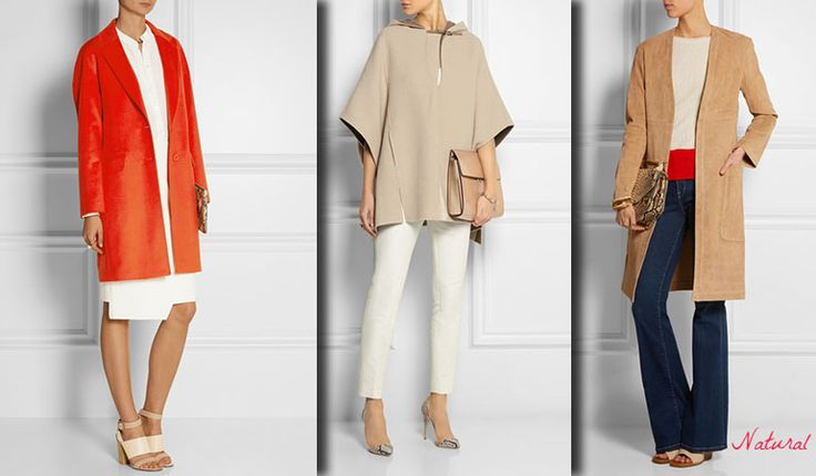 Outfits for Natural (Kibbe). Light coats and a poncho. Typ urody Natural – kobieta zrelaksowana